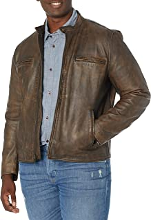Lucky Brand Mens Zip Front Vintage Leather Jacket