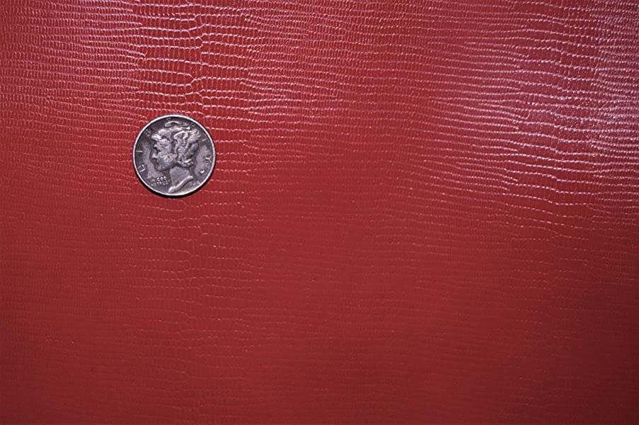 Leather Piece - Red Shallow Lizard Cow Hide Leather (12x30)