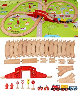 TOWO Wooden Train Set with Town Map-Shinington Railway Track Construction Building Toys for 3 years old Kids Boys Girls-Ve...