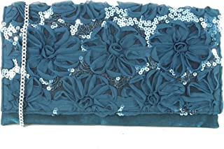 Loni Womens Evening Glitzy Sequin Clutch Bag/Shoulder Bag Wedding Party Prom Bag Teal Turquoise