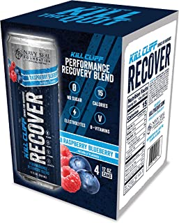 KILL CLIFF Recovery Drink, Raspberry Blueberry, 12 Oz Cans, 4 Count - Clean Hydration, Low Cal, Electrolyte...