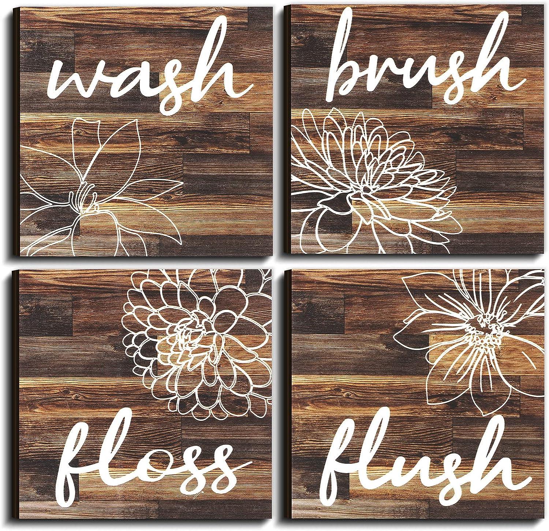4 Pieces Bathroom Wall Decor Farmhouse Bathroom Decor Hanging Wooden Sign Bathroom Wall Art Bathroom Pictures Wall Decor Vintage Rustic Wall Sign Bathroom Quotes 5.9 x 5.9 Inches Unframed (Brown)
