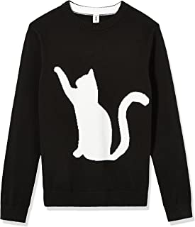 Kid Nation Girls' Pullover Cat Sweater for Kids Cotton Knit Cloth for Size 4-12Y