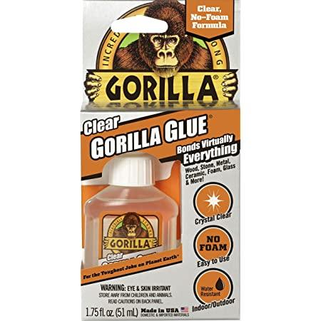 Gorilla Clear Glue, 1.75 ounce Bottle, Clear (Pack of 1) - 4500104