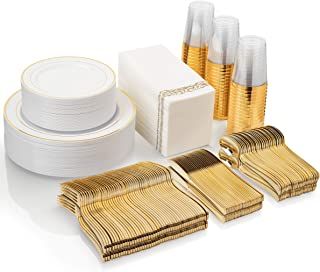 Gold Disposable Plates Set For 50 Guest - 450 Piece Gold Plastic Dinnerware Set - 100 Gold Rimmed Plastic Plates, 50 Gold Rimmed Plastic Cups, 100 Paper Napkins, 50 Gold Silverware Set