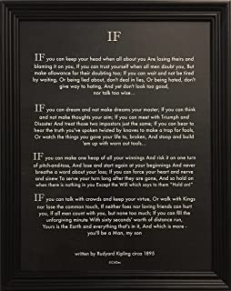 Desiderata Gallery Wood Framed Chalk Art If Quote (Written in 1895) Rudyard Kipling (Author of The Jungle Book) 10x12