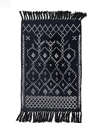 Winwinplus Hand Woven Rug Tassel Rug Runner, Black White Boho Rug, Cotton Tassel Rug for Kitchen, Laundry Doorway Bedroom, 23.6'' x 51.2''
