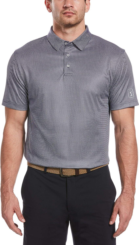 PGA TOUR Men's Mini Gingham Max 55% Under blast sales OFF Print Shirt Sleeve Short Golf Polo