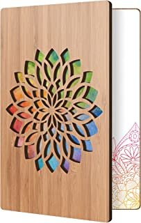 Unique Greeting Card For Any Occasion: Handmade Flower Design With Real Bamboo Wood; Wooden Card Can Be Used For Anniversary, Thank You, Sympathy Cards, Or A Great Gift