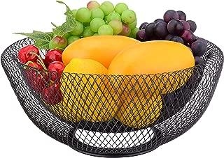 IBERG Mesh Fruit Bowl Decorative Fruit Basket Holder for Kitchen, Reception, Dining Table (Black, 12 INCH)