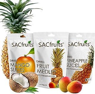 SACFruits Natural No Sugar Vegan Friendly Multi-Pack Dried Fruit Snacks (Mango, Coconut, Pineapple)