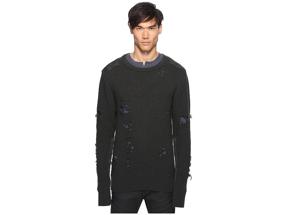 Image of adidas Originals by Kanye West YEEZY SEASON 1 Destroyed Wool Sweater (Gunpowder) Men's Sweater
