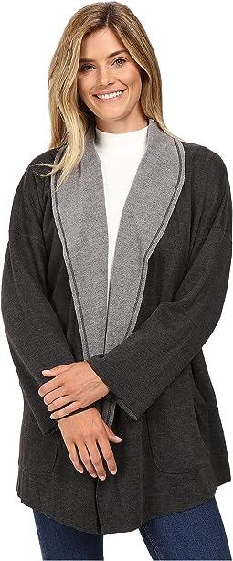 Two-Tone Ponte Reversible Kimono Sleeve Coat