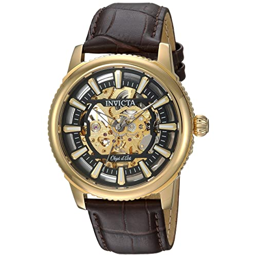 Invicta Mens Objet dArt Automatic Stainless Steel and Leather Casual Watch,