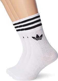 adidas Unisex Mid-Cut Crew Socks 3 Pairs, White (White/Black), 35-38 EU
