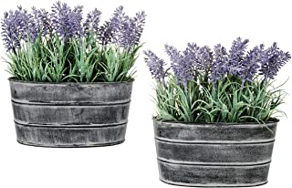 MyGift Decorative Artificial Lavender Flower Plants in Rustic Metal Pots, Set of 2