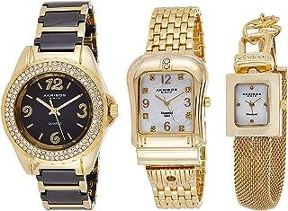 Akribos XXIV Women's Diamond Accented Yellow Gold Tone 3-Watch Set - AK600