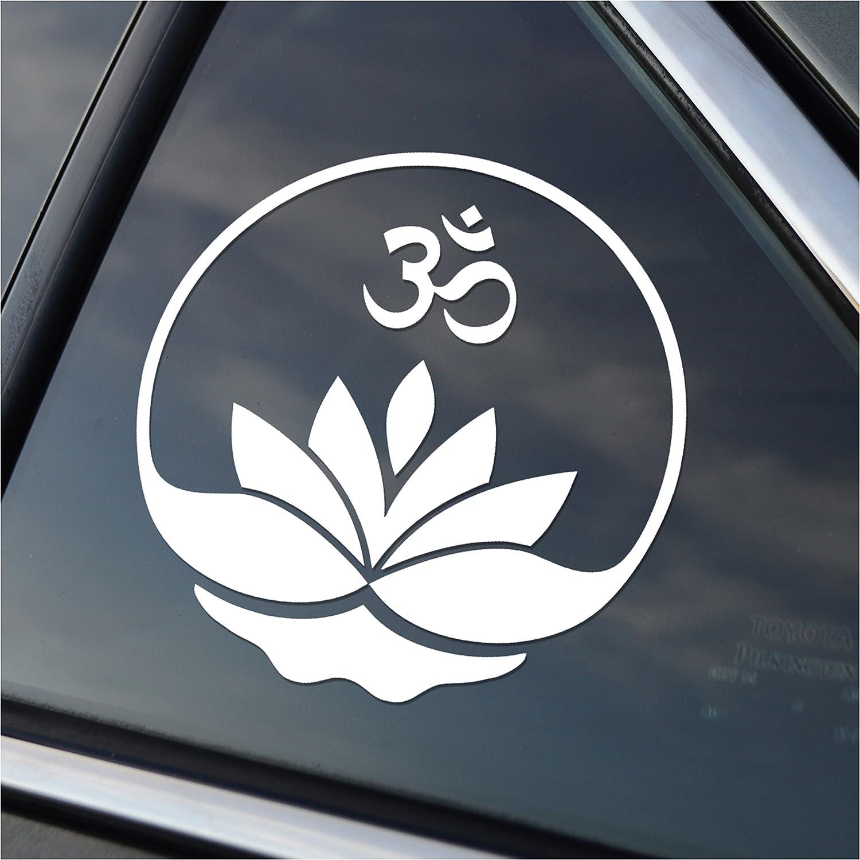 "Choose Color 20/"" inch Lotus Aum Symbol Vinyl Sticker Decal Om Buddha Yoga"
