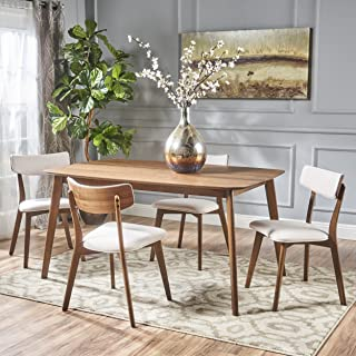 Christopher Knight Home Aman Mid Century Natural Walnut Finished 5 Piece Wood Dining Set with Light Beige Fabric Chairs