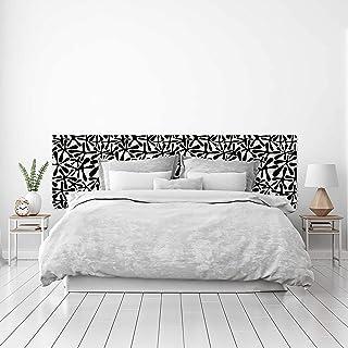 MEGADECOR Cabecero Cama PVC Decorativo Económico Diseño Abstracto Formas Orgánicas Blanco y Negro Varias Medidas (200 cm x 60 cm)