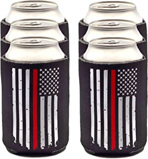 Thin Red Line Can Coolers, Firefighter Gifts for Men 6-Pack Beer Sleeves, Black with Red Stripe American Flag