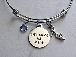 Have Courage and Be Kind Adjustable Bangle Charm Bracelet With Shoe Charm & Swarovski Birthstone, Cinderella Quote