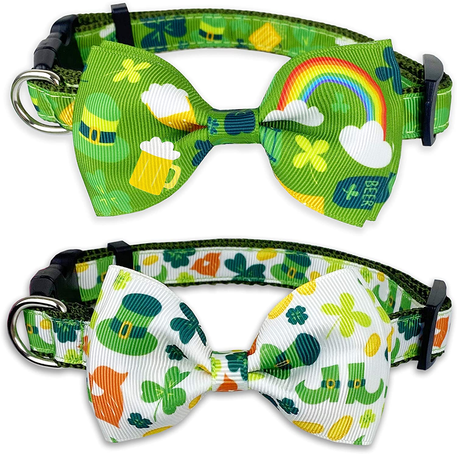 St. Patrick's Day Fresno Mall Dog Collar with S Bow gift Holiday Lucky Tie Irish