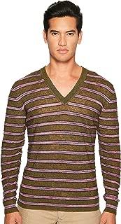 Mens Striped Linen Sweater