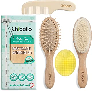 Chibello Baby Hair Brush and Comb Set Natural Wooden Goat Bristles Brush for Cradle Cap Treatment Wood Bristle Brush for N...