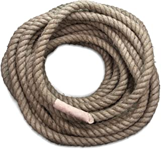 Crown Sporting Goods Jute Twine Fitness Tug of War Rope with Leather Ends in 8, 20, 1.3 Inch Thickness, 52, 72, 98, 118 Feet Length
