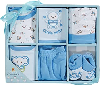 Big Oshi 6 Piece Layette Newborn Baby Gift Set for Boys - Great Baby Shower or Registry Gift Box to Welcome a New Arrival - All The Essentials - Pants, Shirt, Cap, Booties, Bodysuit, and Bib, Blue
