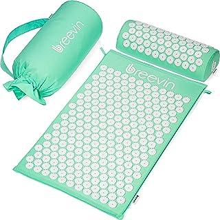 BREEVIN Mata do akupresury z poduszką – mata do akupunktury przeciwko bólom pleców rozluźnia napięcia, wspomaga krążenie k...