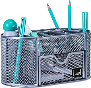Mindspace Office Desk Organizer with 8 Compartments + Drawer | Desk Caddy Pen Holder For Office Accessories | The Mesh Col...