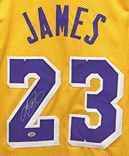 7a1e5a95e8d Lebron James Los Angeles Lakers Signed Autographed Yellow #23 Custom Jersey
