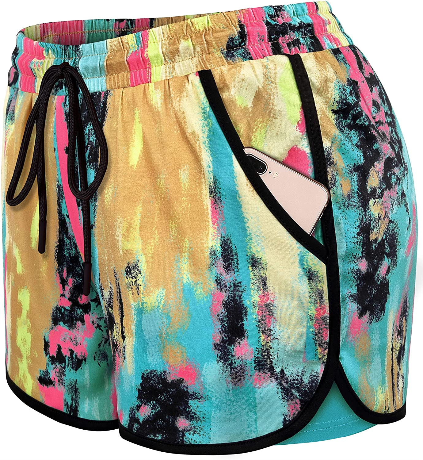 Blevonh Womens Los Angeles Mall 2 in1 Running Athletic with Yoga Workout Shorts Max 68% OFF P