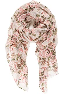 Scarf for Women Lightweight Floral Flower Scarves for Fall Winter Shawl Wrap (P011-11)