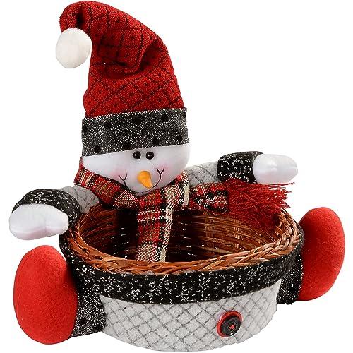 WeRChristmas Snowman Multi-Use Wicker Basket Christmas Decoration Table Decoration, 18 cm - Multi-Colour
