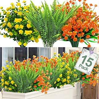Camlinbo 15 PCS Artificial Flowers Plants, UV Resistant Artificial Outdoor Plants Greenery Shrubs Plants Artificial Fake F...