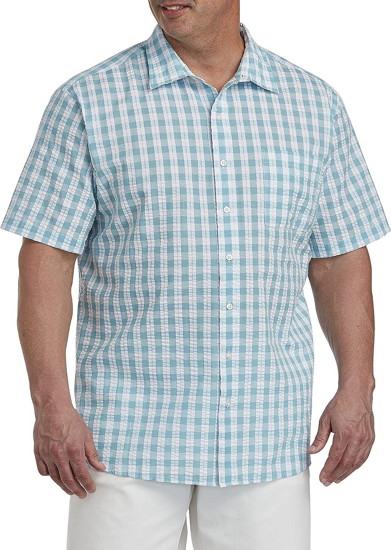 Oak Hill by DXL Big and Tall Gingham Sport Shirt, Blue