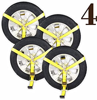 (4 Pack) Side Mount Wheel Net with Flat Hook and Ratchet | 4 Car Wheel Lasso Straps for Auto Hauling by DC Cargo Mall