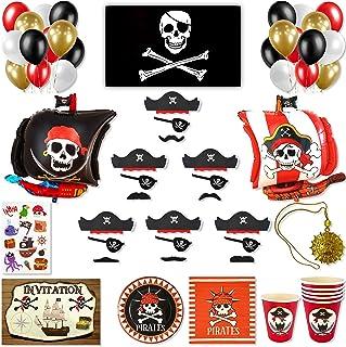 DREANA Kit fête d'anniversaire garçon thème pirates 6pers: Décoration murale (ballons de baudruche bateau pirate) -Vaissel...