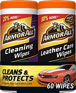 Armor All 18781 Cleaning and Leather Care Wipes, 30 Count Each - 2 Pack Wipes