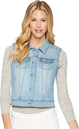 Soft Denim Vest with Embroidery Detail