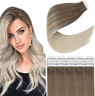 Easyouth Real Human Hair Extensions Tape in Hair Skin Weft 12inch Color 8 Ash Brown Fading to 60 Platinum Blonde 20pcs 30g...
