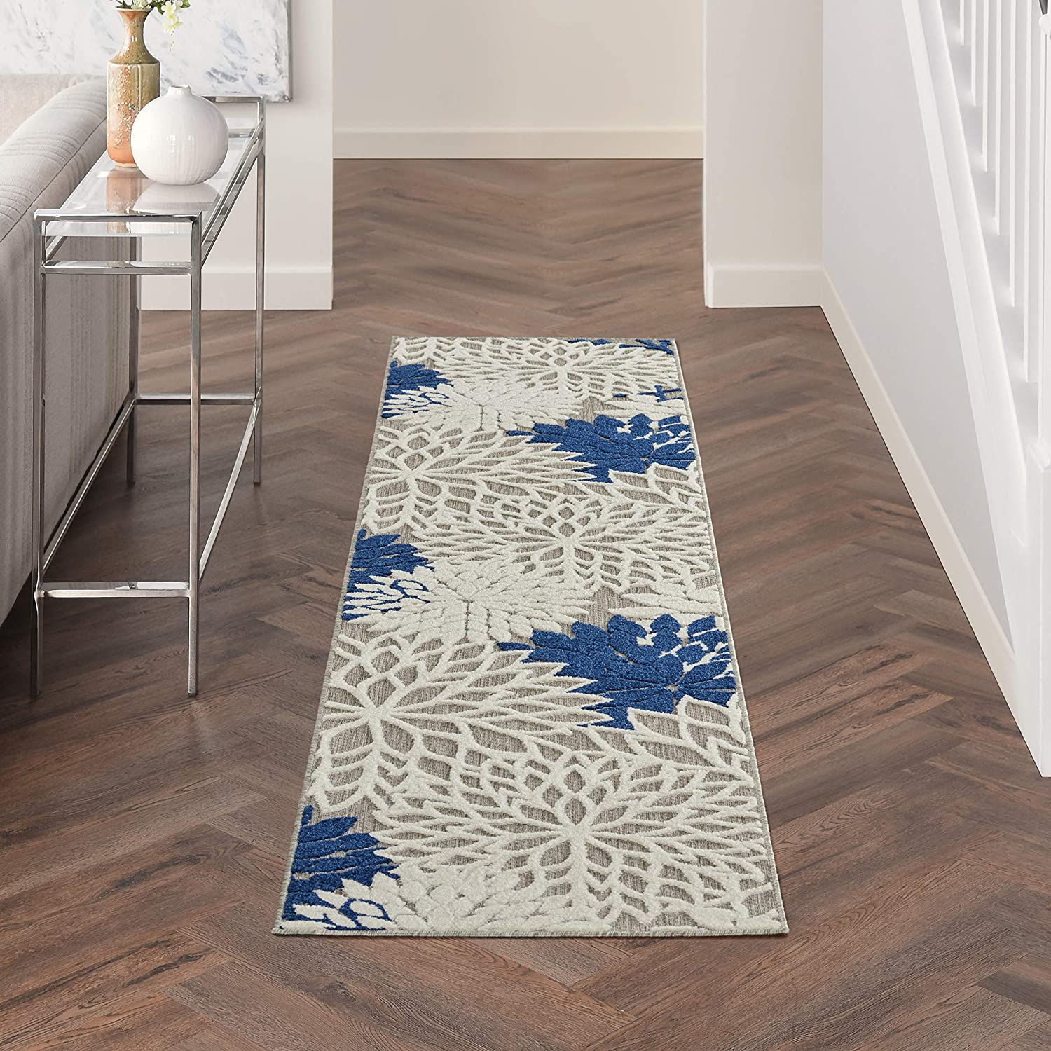 Limited price sale Nourison Aloha Indoor Outdoor Floral Ivory Rug x Area Navy 2' quality assurance 6'