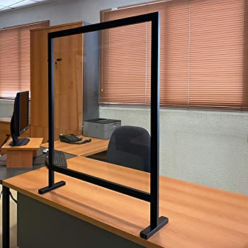 Mampara Protector Mostrador Metacrilato Portátil, Aluminio Negro y Blanco, 92,5x72,5 cm: Amazon.es: Bricolaje y herramientas