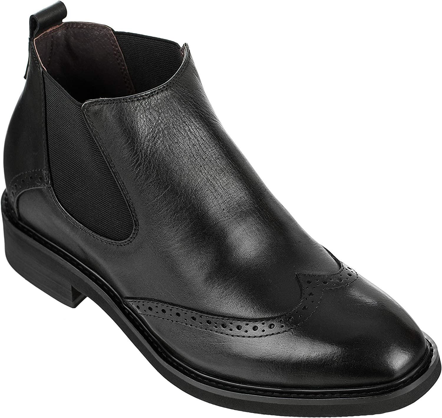 CALDEN - K28802 - 3 Inches Taller - Height Increasing Elevator shoes-Black Wing-tip Ankle Boots