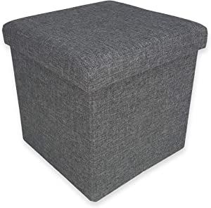 tex family fabric pouffe footrest container  taylor grey