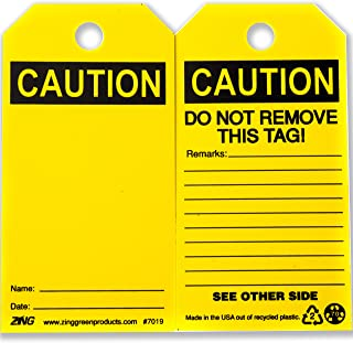 ZING 7019 Eco Safety Tag, Caution, Blank, 5.75Hx3W, 10 Pack