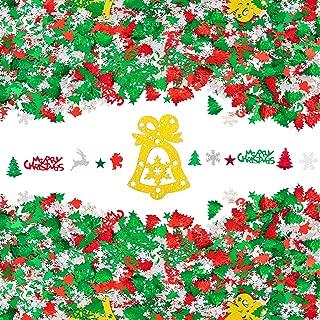 Morepack 150g Christmas Confetti Bell,Snowflake,Santa,Elk,Pentagram,Christmas Trees,Merry Christmas Letters Table Confetti Christmas Party Decorations (150g) (Christmas Confetti 150g)